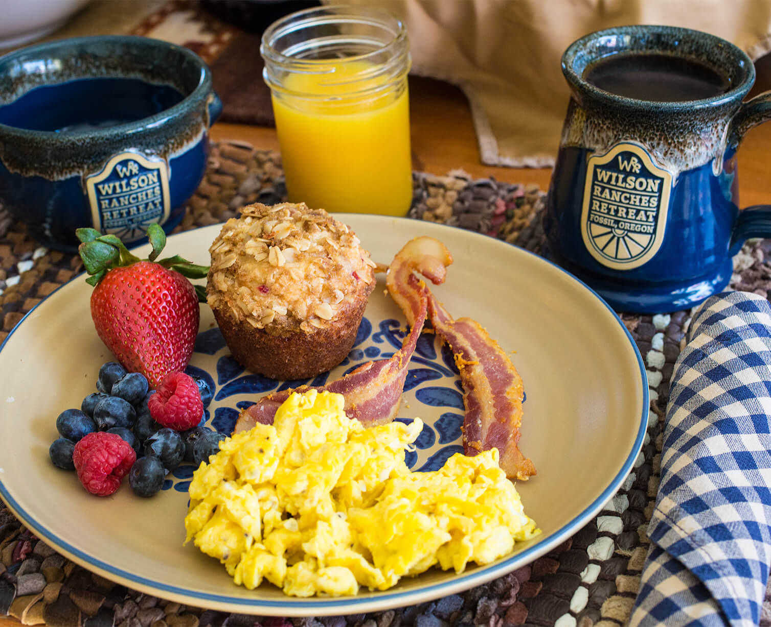 Ranch style breakfast with coffee and orange juice