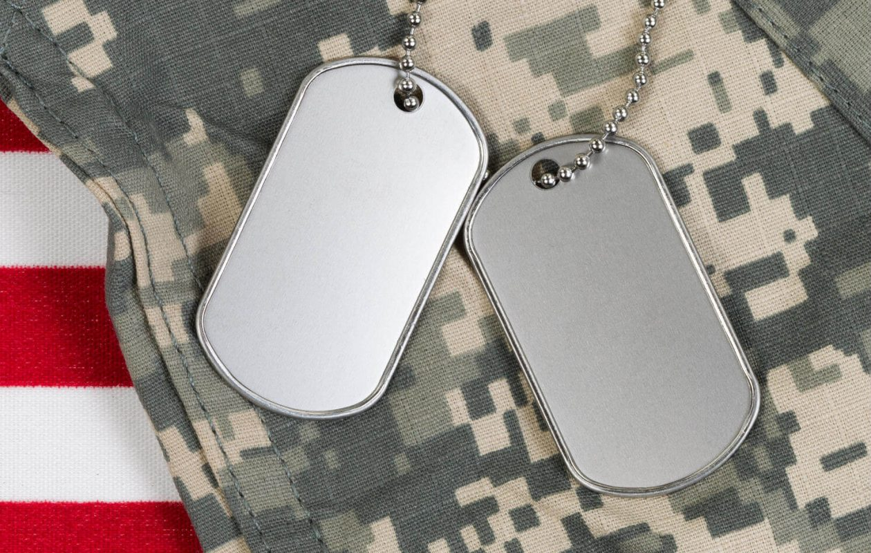 American flag stripes, military uniform and dog tags