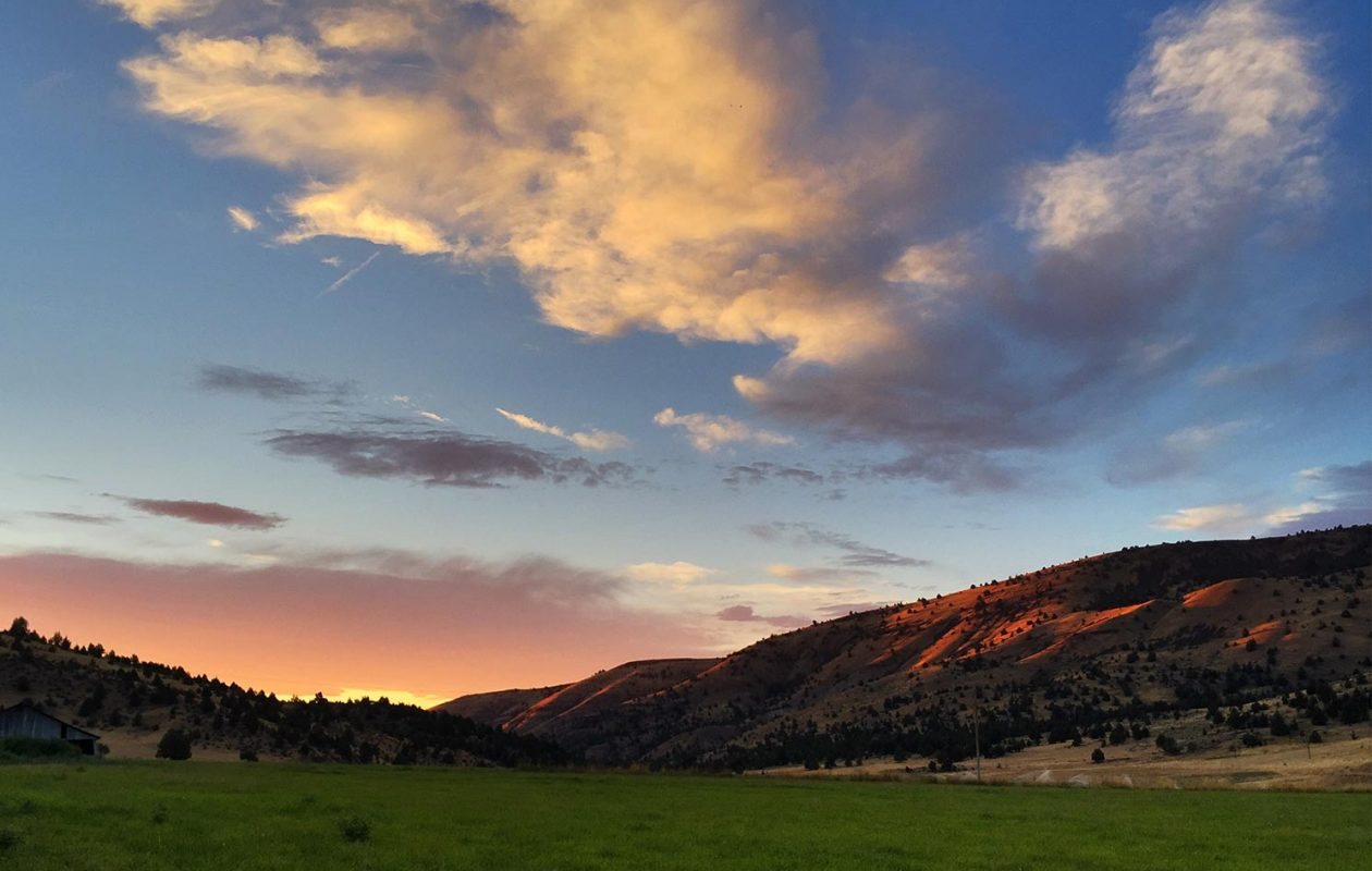 Sunset on the high desert hills of central oregon