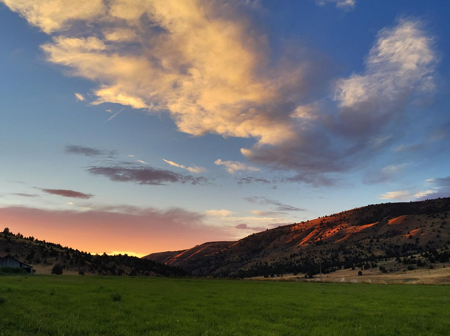 Sunset on the high desert hills of central oregon