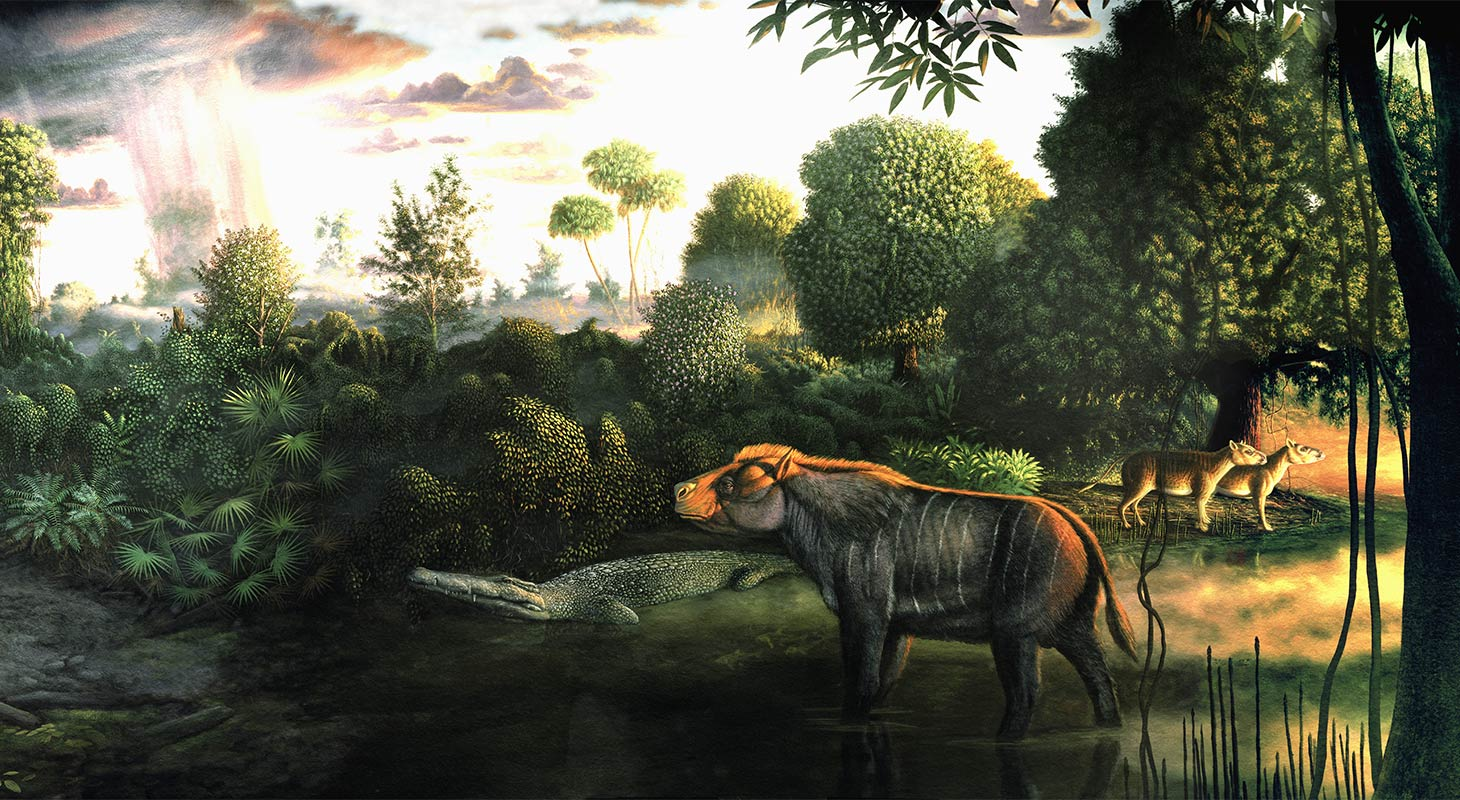 Clarno nut beds mural with prehistoric animals