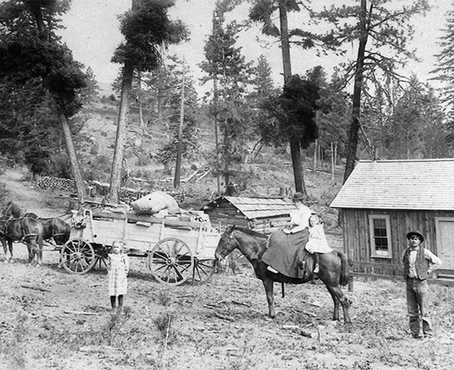 Wilson Family in front of cabin on horse and wagon
