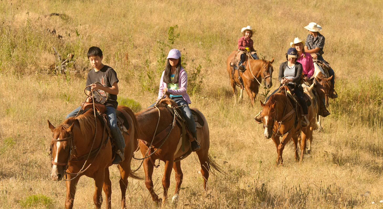 Family on a guided horseback ride