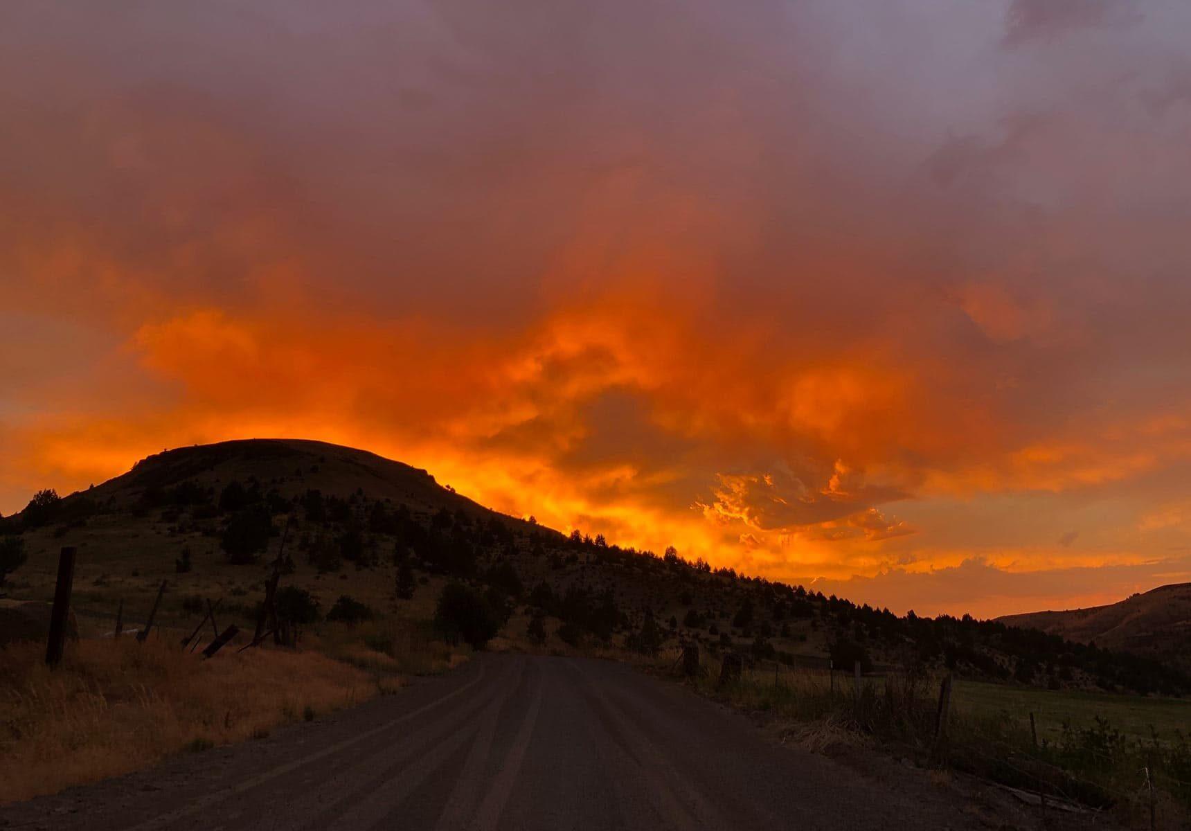 Bright Orange Sunset sky
